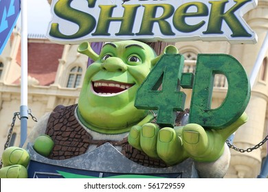 SENTOSA, SINGAPORE - JAN.17 2017 : SHREK in front of Castle at Universal Studios Singapore on Sentosa Island, Singapore