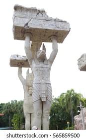 SENTOSA, SINGAPORE - JAN.17 2017  : Traditional egyptian sculpture in the Mummy park at Universal Studio Singapore