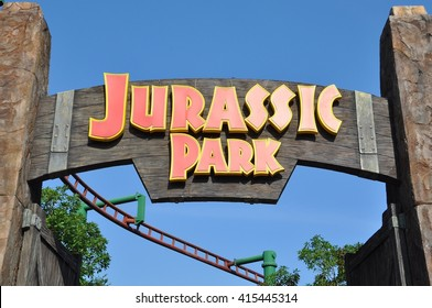 Sentosa, Singapore - June 11, 2014: Signage of Jurassic Park in the entrance of the park.