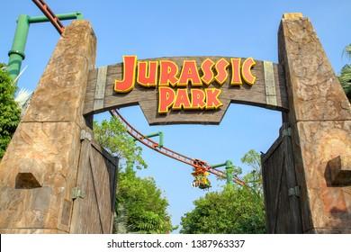 Sentosa,Singapore-APRIL 12,2016:The big gate in front of Jurassic Park theme at Universal Studio Singapore