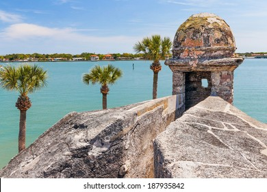 A sentry box turret overlooks Matanzas Bay at the Castillo de San Marcos, a seventeenth century Spanish Fort in Saint Augustine, Florida.