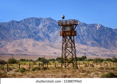 sentry tower on the perimeter of the incarceration camp of manzanar, near lone pine, california