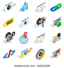 SEO icons set in isometric 3d style. Web set collection isolated  illustration