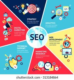 Seo infographic set with strategy analytics technical support web development symbols  illustration