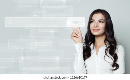 Seo, internet marketing and advertising marketing concept. Smiling business woman pointing to empty address bar in virtual web browser