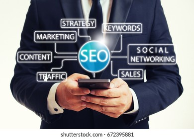 SEO marketing concept with businessman searching on internet using smart phone