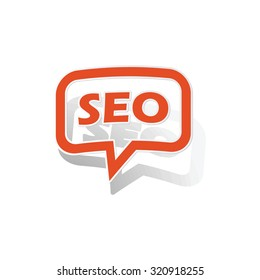SEO message sticker, orange chat bubble with image inside, on white background