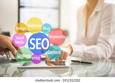 SEO Optimization of an internet website concept on white background
