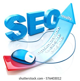 SEO positive red arrow in the design of the information related to the Internet and web sites. 3d illustration