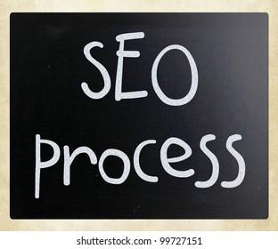 """SEO process"" handwritten with white chalk on a blackboard"