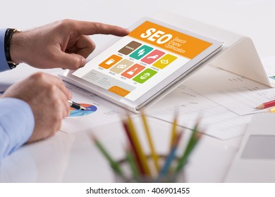 SEO screen on the tablet pc