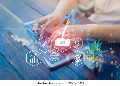 SEO Search Engine Optimization concept with laptop computer. ranking traffic on website, internet technology for business company.