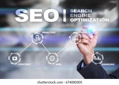 SEO. Search Engine optimization. Digital online marketing andInetrmet technology concept.