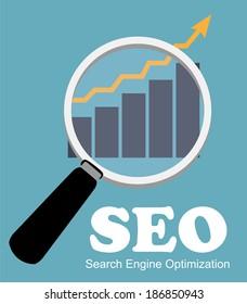 SEO - Search Engine Optimization Flat Icon  Illustration