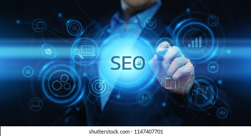 SEO Search Engine Optimization Marketing Ranking Traffic Website Internet Business Technology Concept.