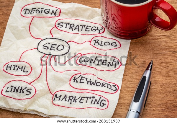 SEO - search engine optimization mindmap on napkin with cup of coffee