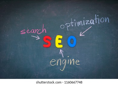 SEO, Search Engine Optimization ranking concept,  with arrows pointing to alphabets abbreviation SEO at the center of cement wall chalkboard, the idea of promote traffic to website.