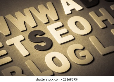 SEO (search engine optimization) word topic in cut wood letter