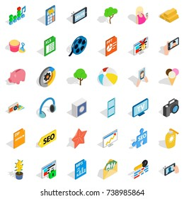 Seo site icons set. Isometric style of 36 seo site  icons for web isolated on white background