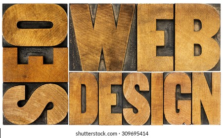 SEO and web design  - isolated word abstract in vintage letterpress wood type printing blocks - top view