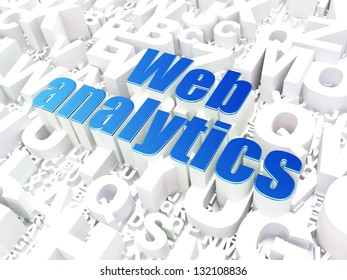 SEO web development concept: Web Analytics on alphabet  background, 3d render