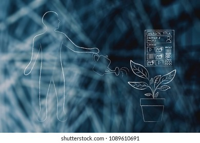 seo and website analytics conceptual illustration: man watering a plant with website growing out of it