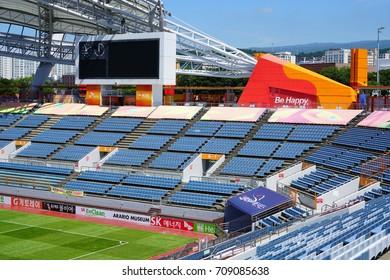 SEOGWIPO, SOUTH KOREA -20 JULY 2017- Built for the 2002 FIFA World Cup, the Jeju World Cup Stadium is home to the Jeju Football Club in Seogwipo on Jeju Island.