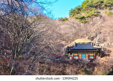 Seokguram Grotto, Gyeongju, Korea. The Seokguram Grotto is a hermitage and part of the Bulguksa temple complex. I