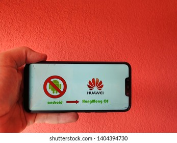 Seon, Aargau / Switzerland – Mai 22, 2019: After Trump administration add Huawei to a trade blacklist, Google has suspended business with Huawei - will Huawei switch to HongMeng OS after Android ban.