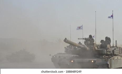 Seongnam, October South Korea - 23 2015 : ROK k-2, k-1 tank and k-21 parade at ADEX(Seoul International Aerospace Defense Exhibition)