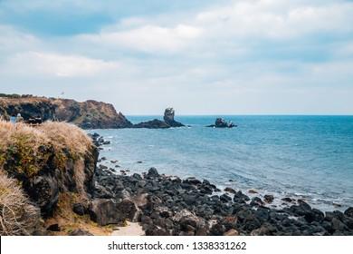 Seopjikoji sea and rock formation in Jeju Island, Korea