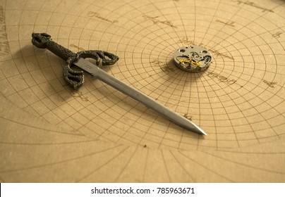 Seord and clockwork on astrolab