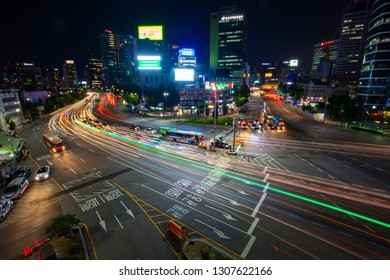 SEOUL - AUGUST 21: A view of Seoul traffic at night from Seoullo 7017 which is a Skygarden near Seoul Train Station in South Korea on August 21, 2018