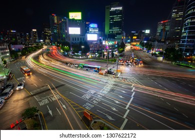 SEOUL - AUGUST 21: A view of Seoul traffic at night from Seoullo 7017 which is a Skygarden near Seoul Train Station in South Korea