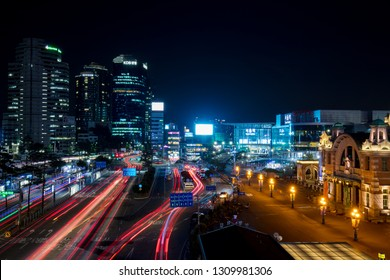SEOUL - AUGUST 21: A view of Seoul train station and traffic at night from Seoullo 7017 which is a Skygarden near Seoul Train Station in South Korea on August 21, 2018