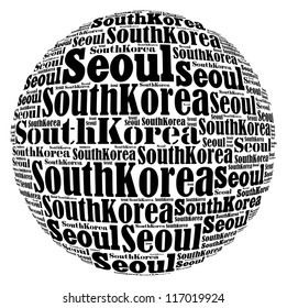 Seoul capital city of South Korea info-text graphics and arrangement concept on white background (word cloud)