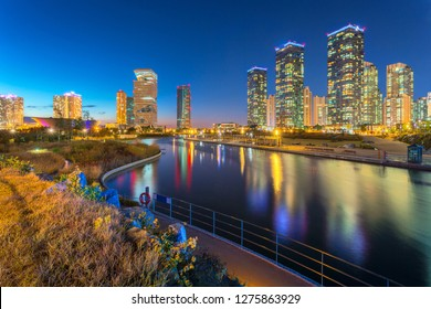 Seoul city with Beautiful at night, Central park in Songdo International Business District, Incheon South Korea.