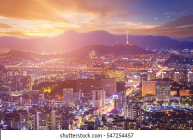 Seoul city Beautiful night of Korea with Seoul Tower after sunset