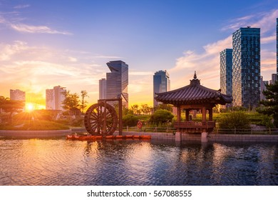 Seoul city with Beautiful sunset, traditional and modern architecture at central park in songdo International business district, Incheon South Korea.