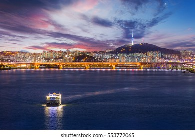Seoul city and Bridge, Beautiful night of Korea with Seoul Tower after sunset, South Korea.