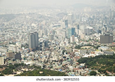 Seoul city, capital of South Korea, panorama, airview