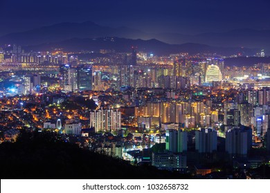 Seoul city and downtown at Night, South Korea.
