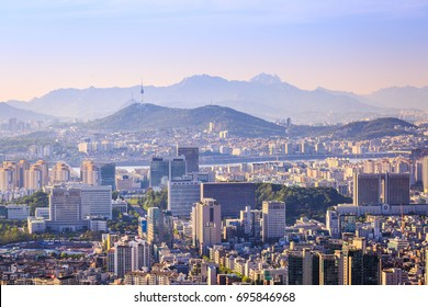 Seoul city and Downtown skyline in aerial, South Korea