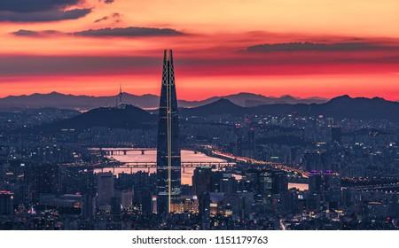 seoul city in evening sky south korea