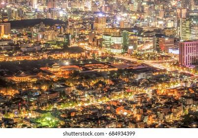 Seoul city and Gyeongbokgung Palace at night in Korea.