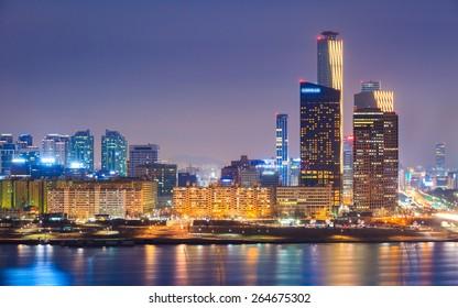 Seoul City and Han River at Yeouido, South Korea.