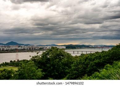 Seoul city hangang river park view.