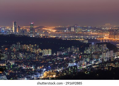 Seoul City and Hanriver at Night, South Korea
