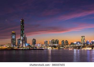 Seoul City at Night and Han River, Yeouido, South Korea.