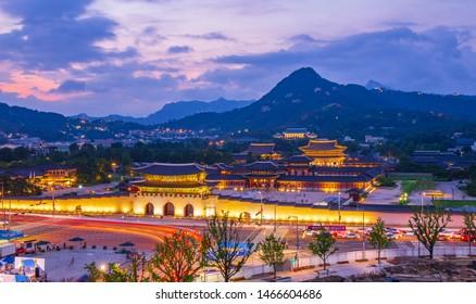 Seoul City Night View at Gyeongbokgung Palace in Seoul South Korea, 27 July 2019 in Seoul South Korea
